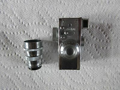 Vintage Steky 16mm Subminature Film Spy Camera W/ Leather Case & Extra Lens