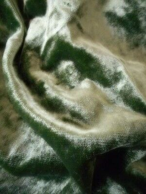 Antique Vtg Dark Lime Green Velvet Fabric 11 Yards