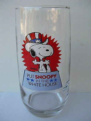 Vintage 1958 Put Snoopy In The White House Glass Peanuts Collectible