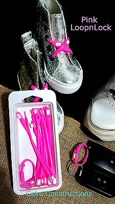HOT PINK 12/pkt CLEVER NO TIE SCHOOL SHOE LACES LOOPNLOCK SPORT SILICON SLIP ON