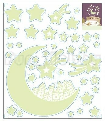 Glow Stickers Star Moon House Glow In The Dark Stickers Cute Star Moon House
