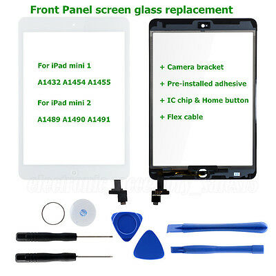 For iPad mini 1 2 Touch Screen Digitizer Front Glass Replacement+IC Chip+Home