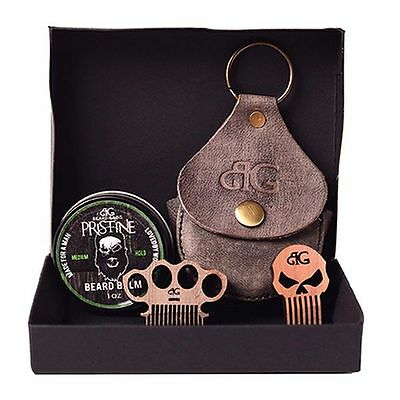 Beard Gains Balm Kit W/ Leather Case | Mini Punisher or Brass Knuckles Comb