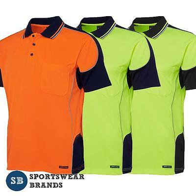 Mens Hi Vis Contrast Piping Polo Shirt Work Trade Uniform Size S-5XL Top 6HCP4