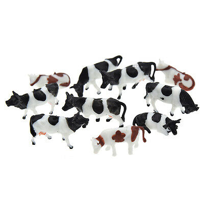 10 Pcs 1:87 Painted Farm Animals Model Cows Scale Model Cows for Model Railway