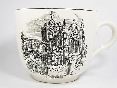 Vintage Gray's Pottery Grays pink lustre cup mug Hexham Abbey large tea coffee