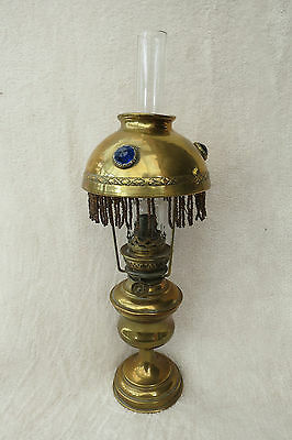 Antique Brass And Coloured Glass Set Gypsy Caravan Oil Lamp