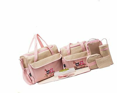 10 Pieces Diaper Bag Set Owl Pink Baby Girl Shower Newborn Tote FREE SHIPPING