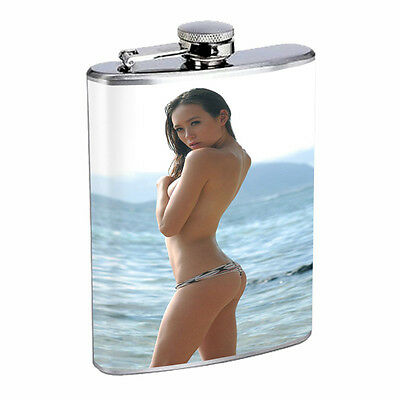 Hawaiian Girls D4 Flask 8oz Stainless Steel Hip Drinking Whiskey