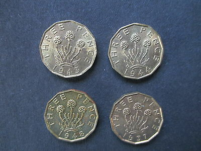 Lot of 4 British English UK 3 Pence Coins -including 1948.