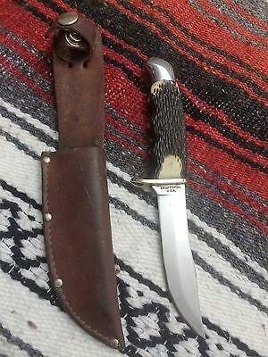 "Vintage Craftsman 4-1/2"" Boot Knife With Leather Sheath & Polished Brass Guard"