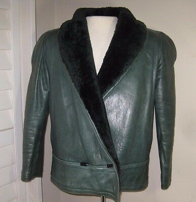 vintage 80s 90s GIANNI VERSACE green calf leather shearling MOTO BOMBER JACKET