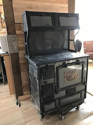 "1920's Home Comfort Antique Wood Cook Stove ""Classic Gray Enamel"""