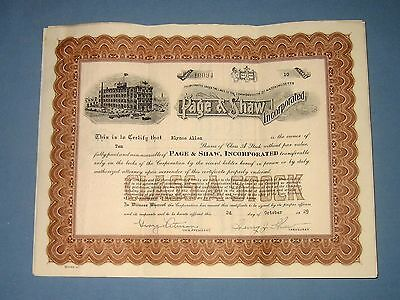 1929  *  PAGE & SHAW stock certificates (2)  *  Massachusetts candy company