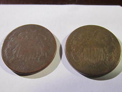 U.S. Two Cent (2 Cent) Piece's   Two (2) Coin Lot ~ 1865 & 1869