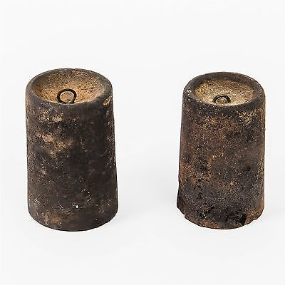 Antique Pair of Solid Cast Iron Measuring Weights Tapered Cylinder 1605g & 1425g