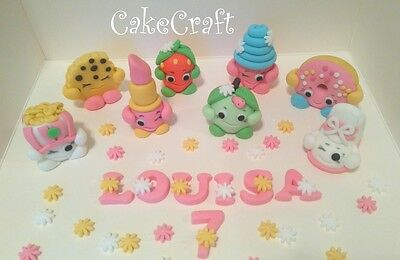 Shopkins +name+flowers birthday Edible Handmade cake decorations toppers