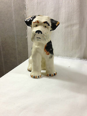 Airedale Dog Figurine - Black & Brown Patches - Made in Japan