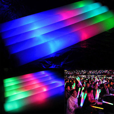 100PCS LED Light Up Foam Sticks Wands DJ Flashing Glow Stick Concert supplies