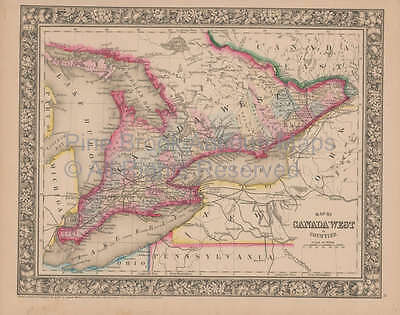 Ontario Canada Vintage Map Authentic Canadian Gift Ideas Decor Mitchell 1864