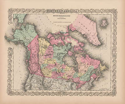 Northern America Vintage Map Authentic Canadian Decor Gift Ideas Colton 1856