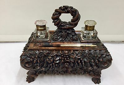 Antique Anglo Indian Padouk Wood Inkstand