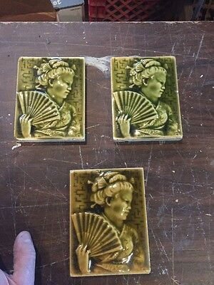 G One Three Available Price Separate Antique Early Fireplace Tile Geisha Girl