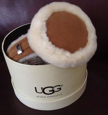 UGG Chestnut Shearling With Leather Trim Tech Wired Earmuffs OSFM New In Box