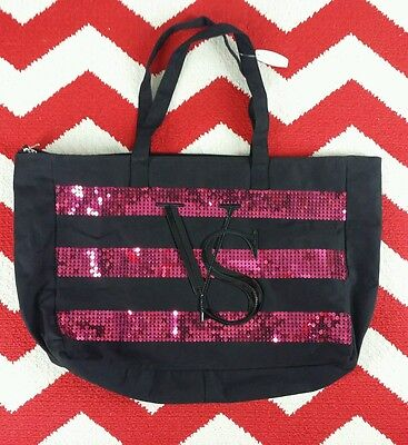 Victoria's Secret Black Friday Sequins Travel Weekender Tote NWT