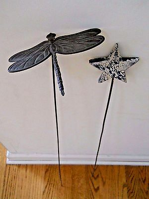 Vintage Metal and Wood  Garden Art Stakes / Dragonfly & Star