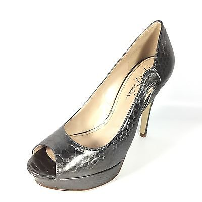 b499fd272eb Marc Fisher Tumble 3 Women s Size 8 M Pewter Snake Heel Open Toe Dress Shoes .