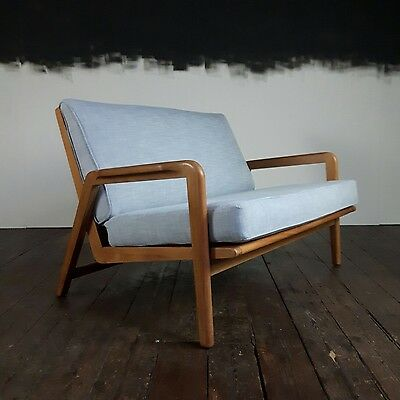 Vtg Mid Century 2 Seater Restored Studio Sofa Settee Retro Danish Design