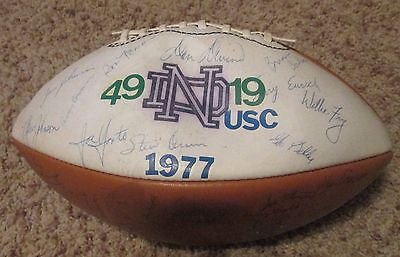 Notre Dame 1977 Championship Football Team Autographed Green Jersey Game