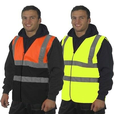 Hi Vis Yellow & Orange High Viz Visibility Waistcoat Safety Work Vest Jacket