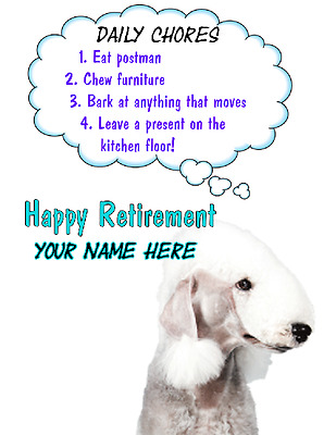 Bedlington Terrier Dog Happy Retirement Rules card A5 Personalised Greetings