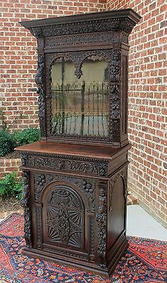 Antique French Oak Black Forest HUNT Cabinet Bookcase Harvest Buffet Cupboard #1