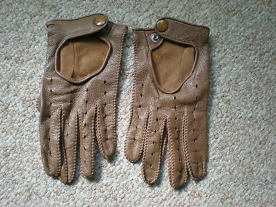 Pair of Vintage 1980's SEARS Brown Leather Driving Gloves - Size 9 - 9 1/2 M