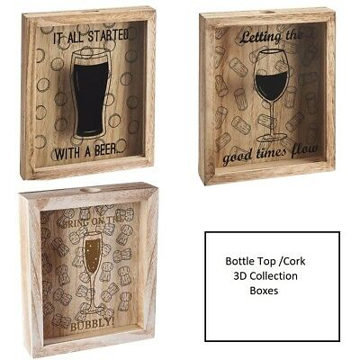 Wine Cork Beer Bottle Cap Collection Storage Display Shadow Box Wedding Decor