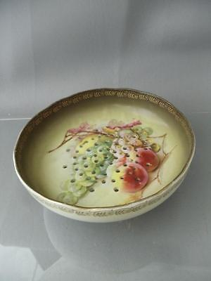 ANTIQUE VICTORIAN HAND PAINTED w GOLD PORCELAIN STRAINER COLANDER FOOTED BOWL