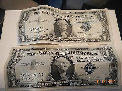 1 Each Series 1957 & 1957 B   One Dollar Silver Certificate--Good Condition