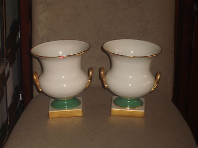 Rare Pair Vintage Lenox Ivory Vase Gold Twisted Handles Green Base