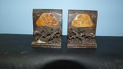 Pair of Antique Carved Chinese Soapstone Bookends and Carved Chinese Vase