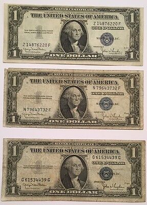 3x 1935 Series D Silver Certificate One $1 Dollar Blue Seal notes, Nice!!!