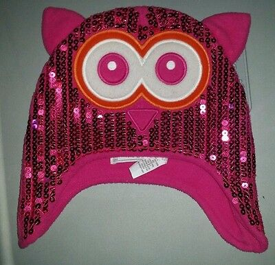 childrens place pink sequin owl stocking winter hat cap small medium 4-7