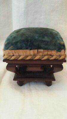 "Antique 4.5""×4.5"" wood and silk cut blue velvet pin cushion"