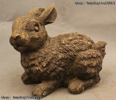 "8"" Lovely China Chinese Fengshui Bronze Zodiac Year Rabbit Statue Sculptures"