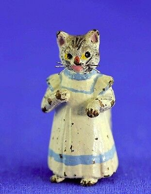 Vintage Austrian Vienna Bronze Cat With Whiskers Cold Painted Figure