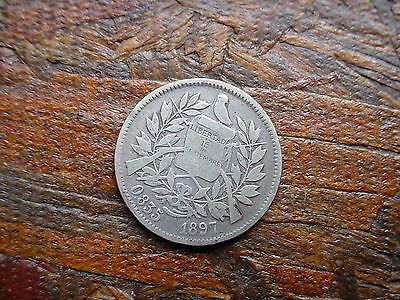 1897 2 Reales Guatemala Silver Coin - Must See