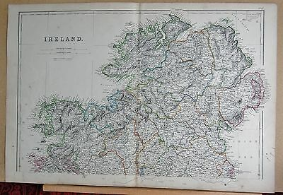 1860  Large Antique Map - Ireland North, Westport, Ballyshannon, Belfast, Malin