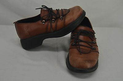 Dansko Womens Brown Leather Lace Up Clogs Size 36  Used shoes slip on work